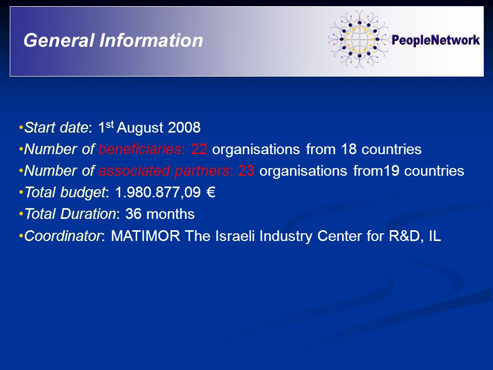 Start date: 1 st August 2008 Number of beneficiaries: 22 organisations from 18 countries Number of associated partners: 23 organisations from19 countr