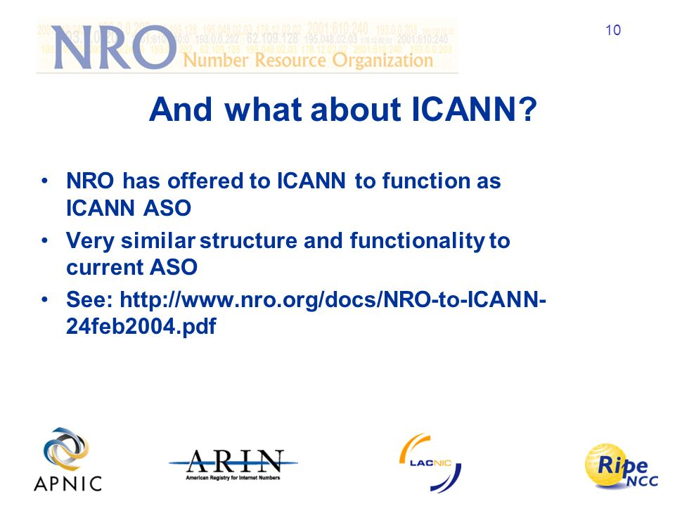 10 And what about ICANN.