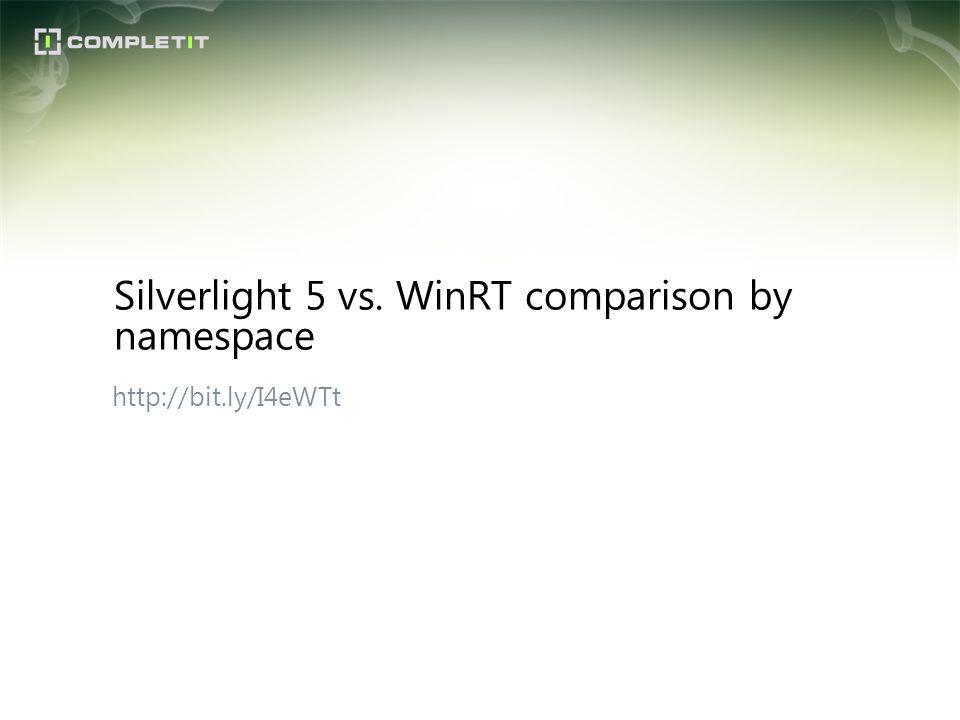 http://bit.ly/I4eWTt Silverlight 5 vs. WinRT comparison by namespace