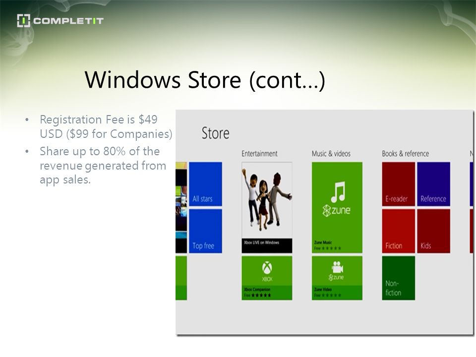 Registration Fee is $49 USD ($99 for Companies) Share up to 80% of the revenue generated from app sales. Windows Store (cont…)