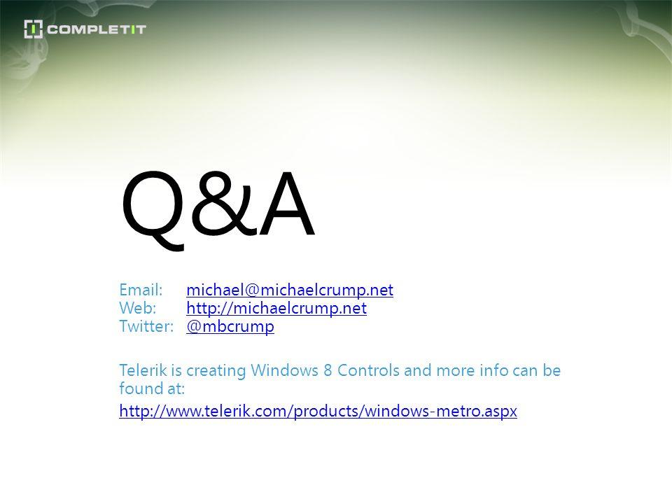 Q&A Email:michael@michaelcrump.net Web:http://michaelcrump.net Twitter:@mbcrumpmichael@michaelcrump.nethttp://michaelcrump.net@mbcrump Telerik is crea