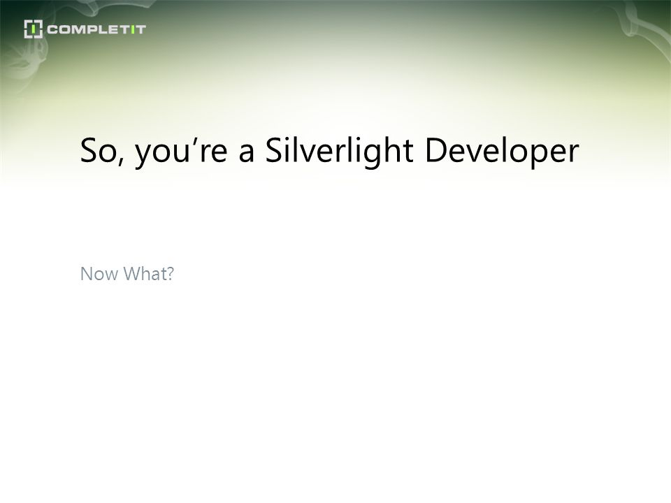 Now What? So, youre a Silverlight Developer