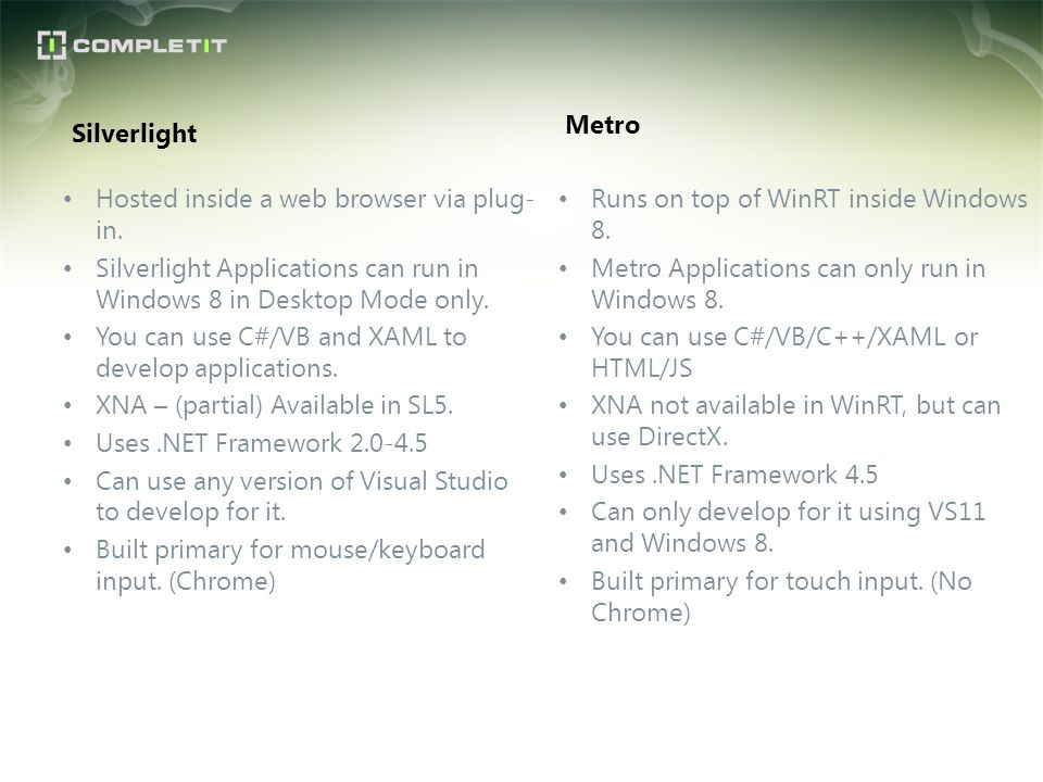 Silverlight Hosted inside a web browser via plug- in. Silverlight Applications can run in Windows 8 in Desktop Mode only. You can use C#/VB and XAML t