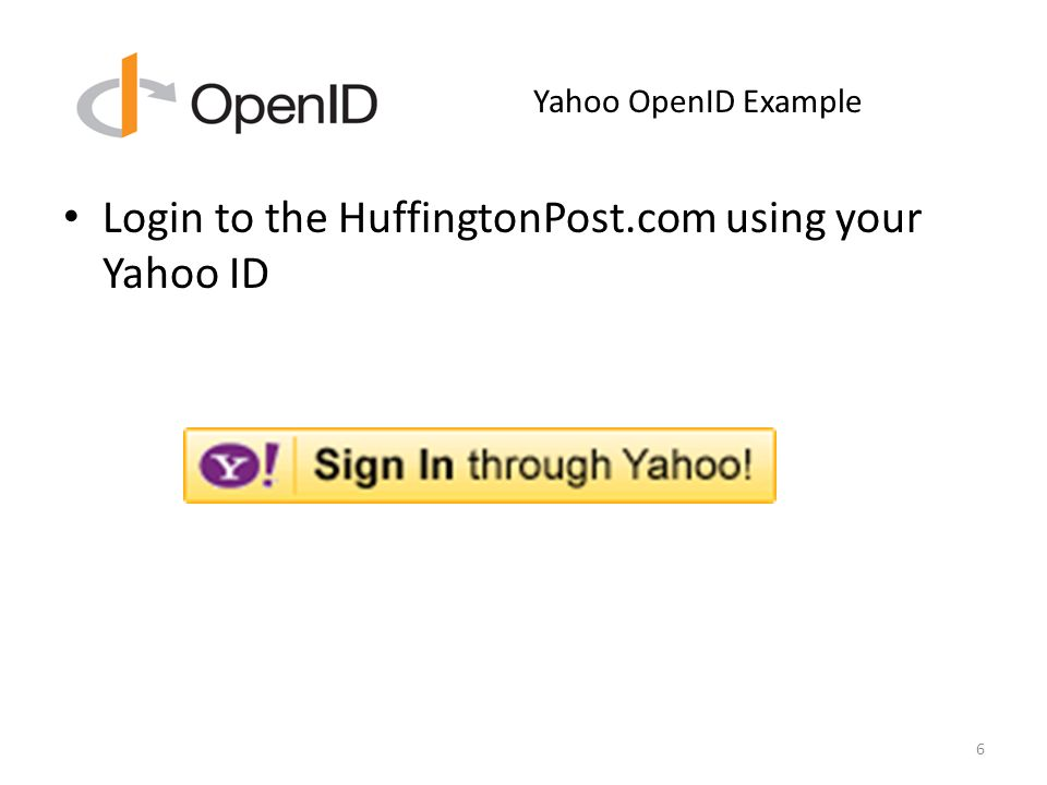 Yahoo OpenID Example Login to the HuffingtonPost.com using your Yahoo ID 6