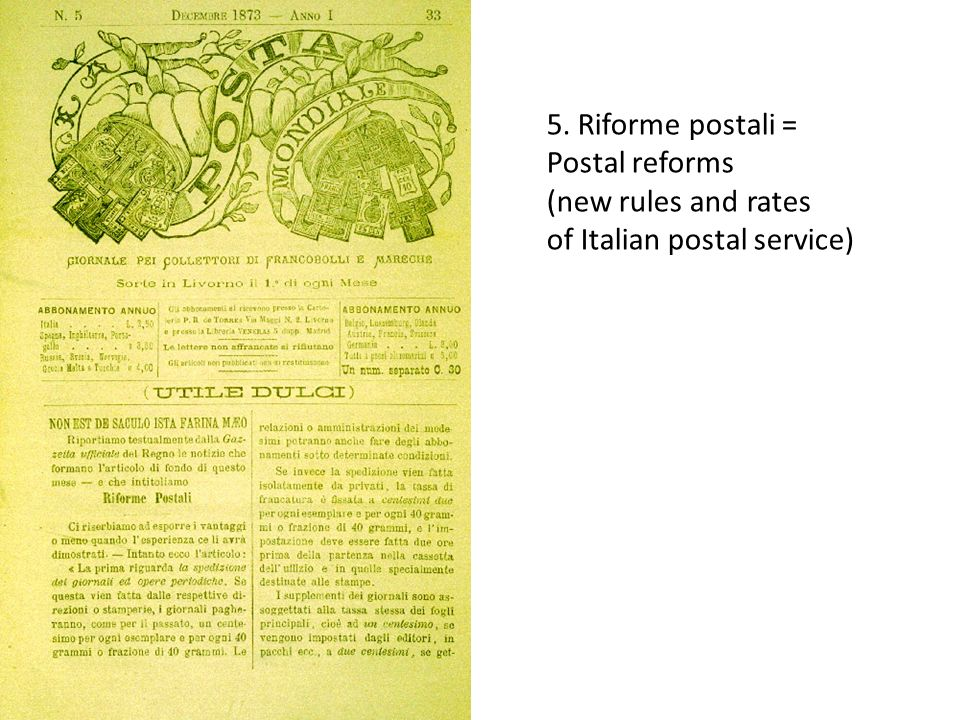 5. Riforme postali = Postal reforms (new rules and rates of Italian postal service)