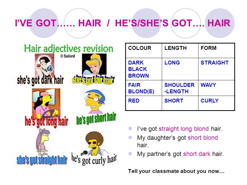 IVE GOT…… HAIR / HES/SHES GOT…. HAIR DARK BROWN BLACK FAIR BLOND(E) COLOURLENGTHFORM DARK BLACK BROWN LONGSTRAIGHT FAIR BLOND(E) SHOULDER -LENGTH WAVY