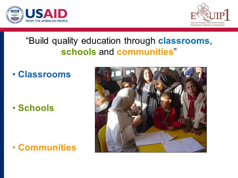 Classrooms Communities Schools Build quality education through classrooms, schools and communities