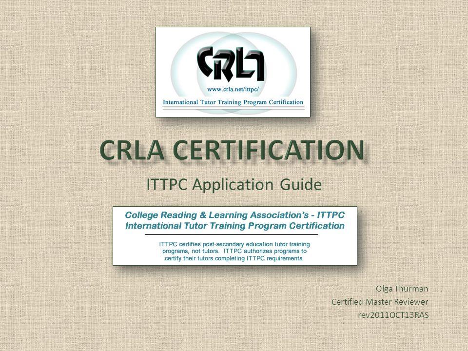 ITTPC Application Guide Olga Thurman Certified Master Reviewer rev2011OCT13RAS
