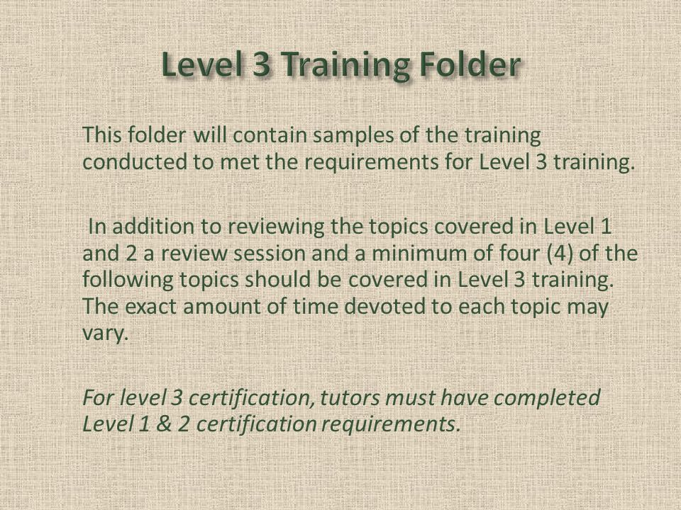 This folder will contain samples of the training conducted to met the requirements for Level 3 training.