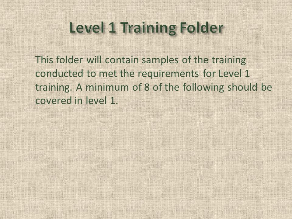This folder will contain samples of the training conducted to met the requirements for Level 1 training.