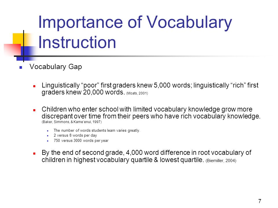 7 Importance of Vocabulary Instruction Vocabulary Gap Linguistically poor first graders knew 5,000 words; linguistically rich first graders knew 20,00