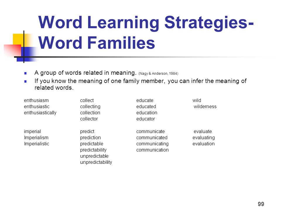 99 Word Learning Strategies- Word Families A group of words related in meaning. (Nagy & Anderson, 1984) If you know the meaning of one family member,