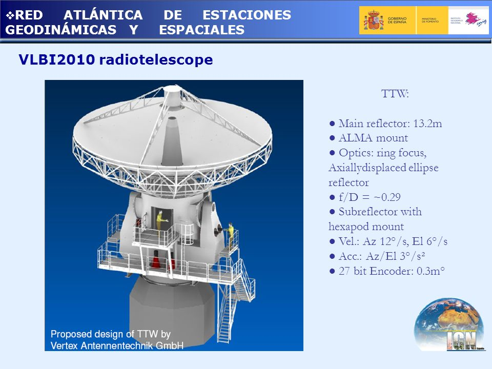 RED ATLÁNTICA DE ESTACIONES GEODINÁMICAS Y ESPACIALES VLBI2010 radiotelescope TTW: Main reflector: 13.2m ALMA mount Optics: ring focus, Axiallydisplac