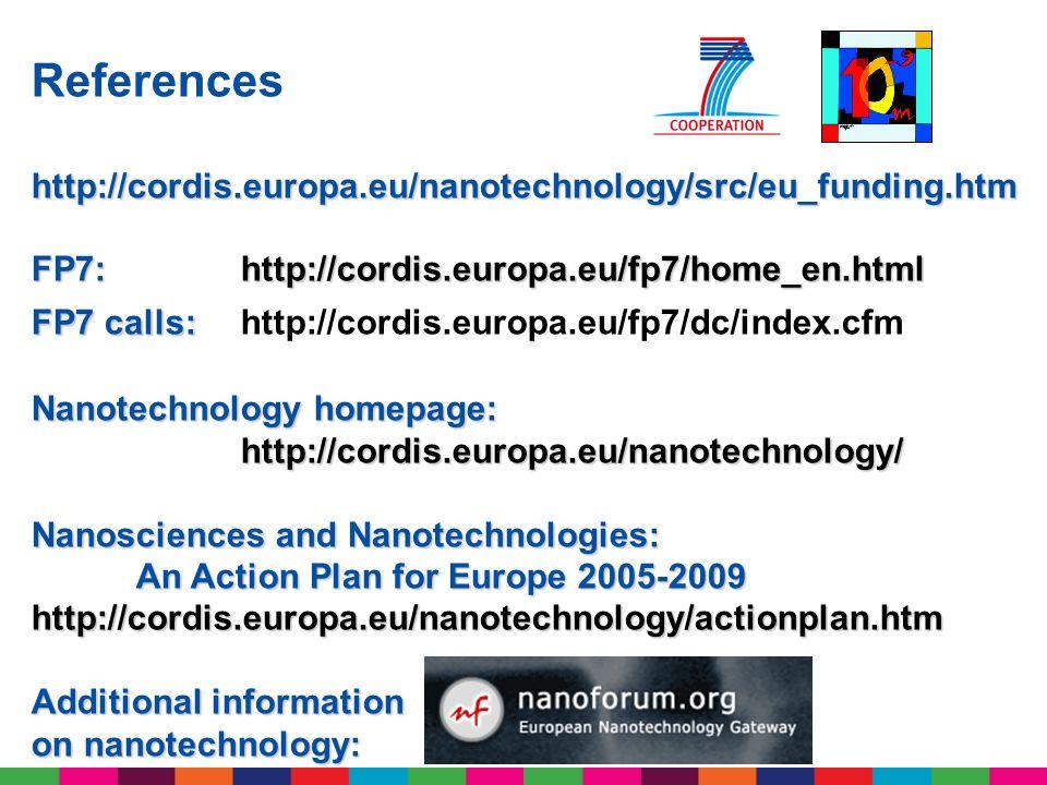 Referenceshttp://cordis.europa.eu/nanotechnology/src/eu_funding.htm FP7: http://cordis.europa.eu/fp7/home_en.html FP7 calls: FP7 calls: http://cordis.
