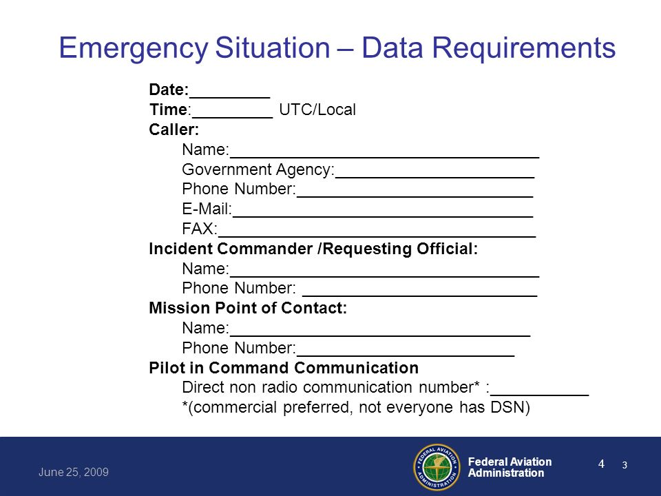 Federal Aviation Administration June 25, 2009 5 Emergency Situation – Data Requirements Nature of Emergency: Missing Person Fire National Disaster Local Disaster Other:__________________________________ Reason for Request:_________________________ Temporary Flight Restriction: None 99.7 91.137 A1 / A2 / A3 4