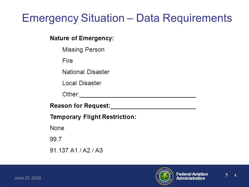 Federal Aviation Administration June 25, 2009 5 Emergency Situation – Data Requirements Nature of Emergency: Missing Person Fire National Disaster Loc
