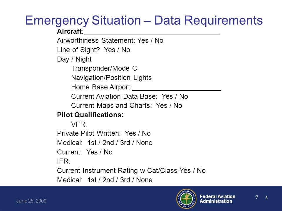Federal Aviation Administration June 25, 2009 7 Emergency Situation – Data Requirements Aircraft:___________________________________ Airworthiness Sta