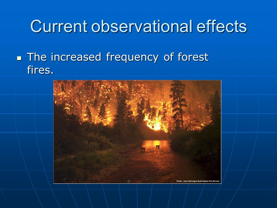 Current observational effects The increased frequency of forest fires. The increased frequency of forest fires.