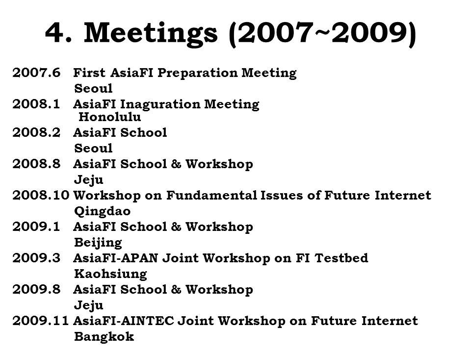 4. Meetings (2007~2009) 2007.6 First AsiaFI Preparation Meeting Seoul 2008.1 AsiaFI Inaguration Meeting Honolulu 2008.2 AsiaFI School Seoul 2008.8 Asi