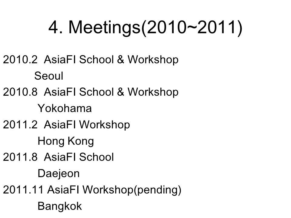 4. Meetings(2010~2011) 2010.2 AsiaFI School & Workshop Seoul 2010.8 AsiaFI School & Workshop Yokohama 2011.2 AsiaFI Workshop Hong Kong 2011.8 AsiaFI S