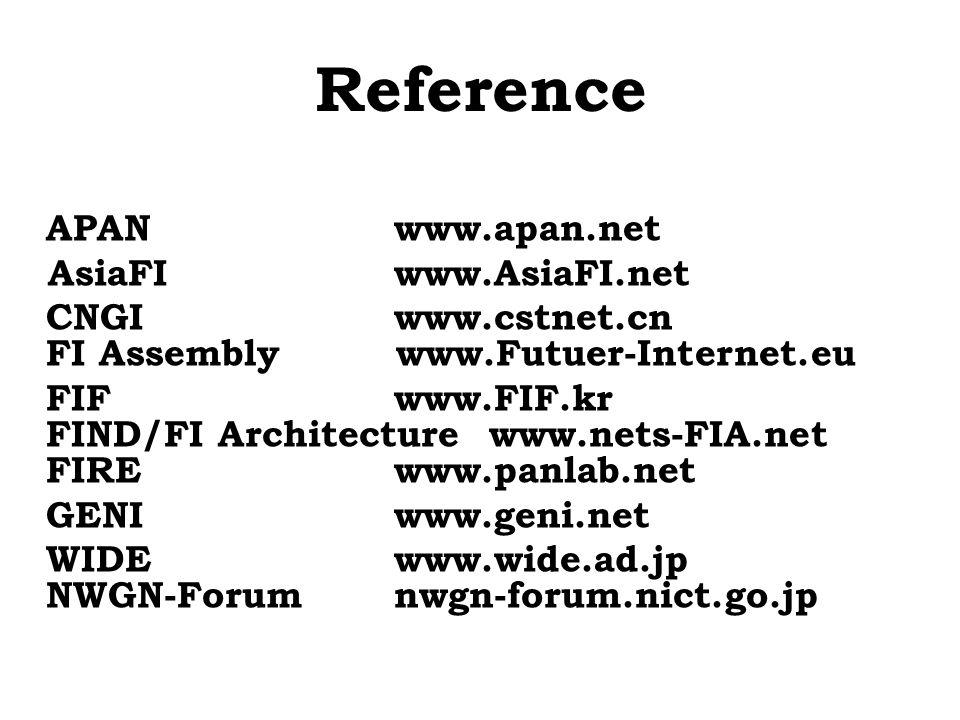 Reference APANwww.apan.net AsiaFIwww.AsiaFI.net CNGIwww.cstnet.cn FI Assembly www.Futuer-Internet.eu FIFwww.FIF.kr FIND/FI Architecture www.nets-FIA.n