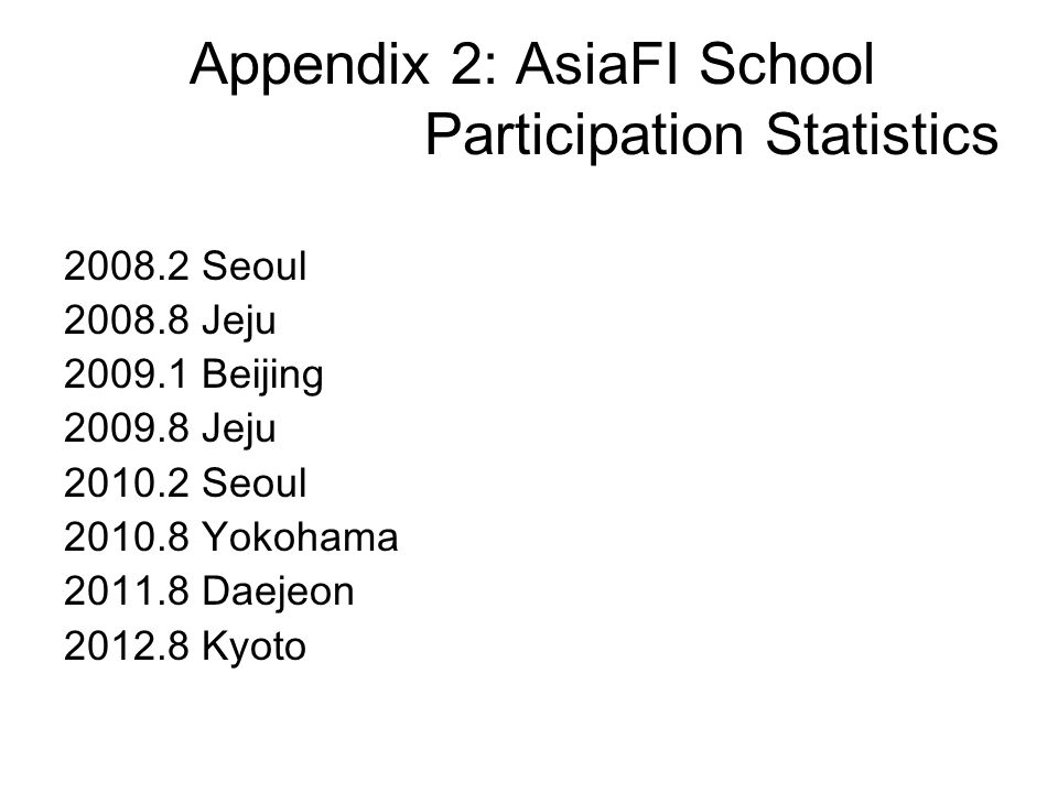 Appendix 2: AsiaFI School Participation Statistics 2008.2 Seoul 2008.8 Jeju 2009.1 Beijing 2009.8 Jeju 2010.2 Seoul 2010.8 Yokohama 2011.8 Daejeon 201