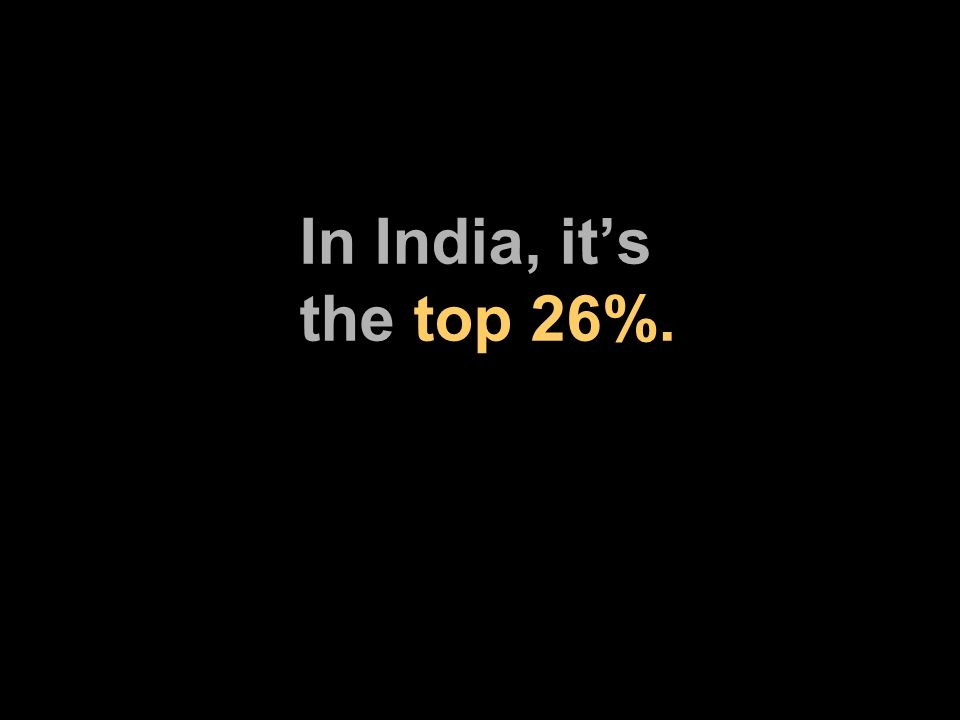 In India, its the top 26%.