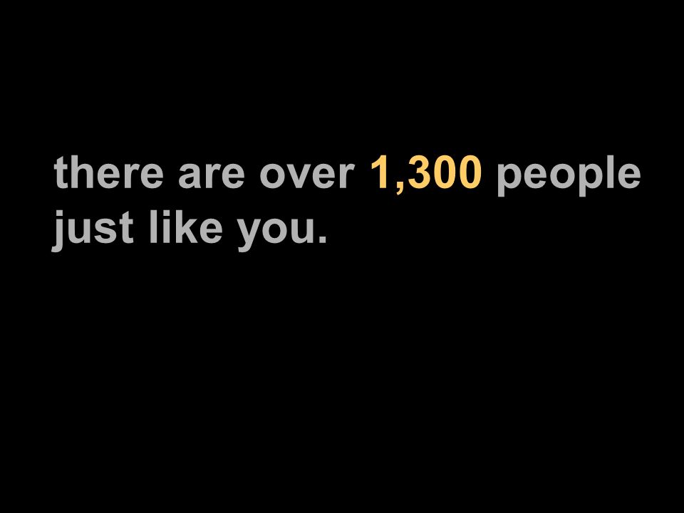 there are over 1,300 people just like you.