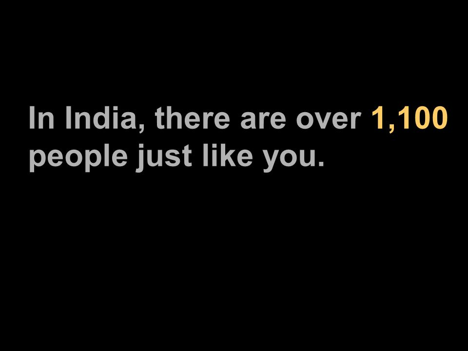 In India, there are over 1,100 people just like you.