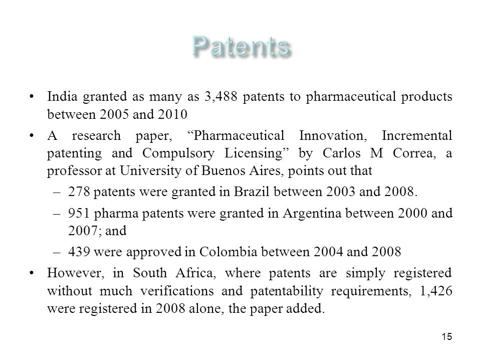 15 India granted as many as 3,488 patents to pharmaceutical products between 2005 and 2010 A research paper, Pharmaceutical Innovation, Incremental pa
