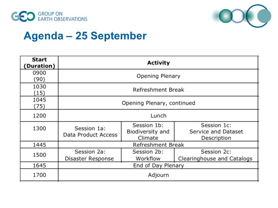 Agenda – 25 September