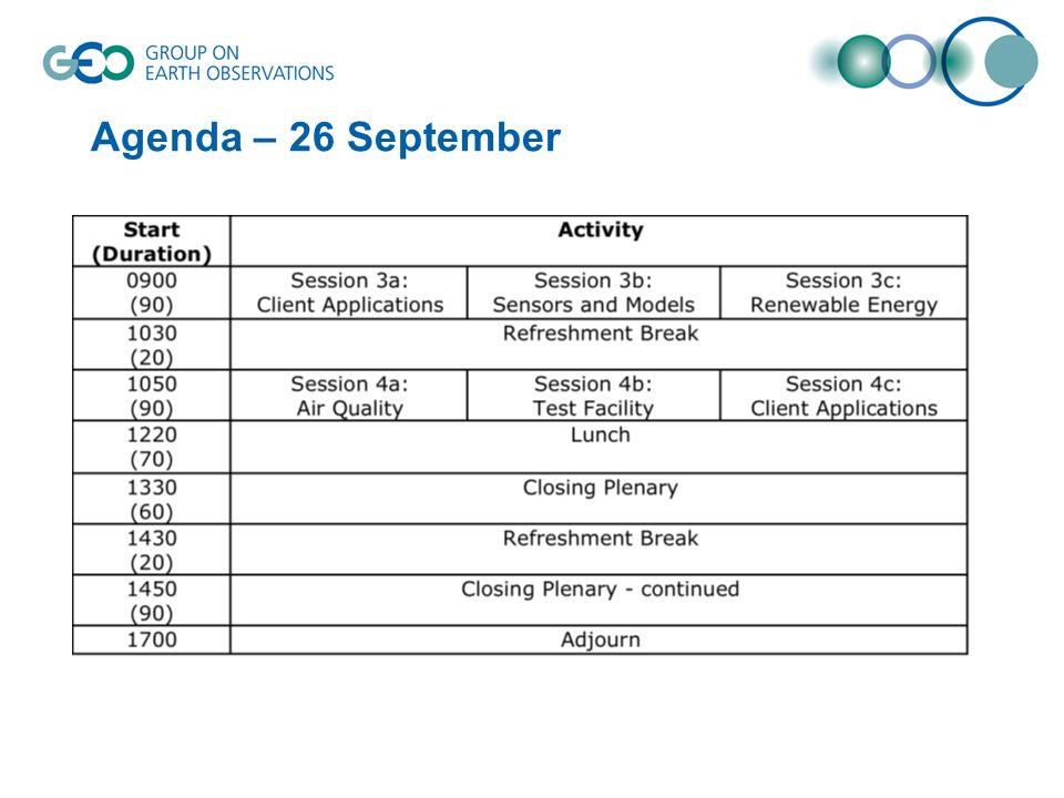 Agenda – 26 September