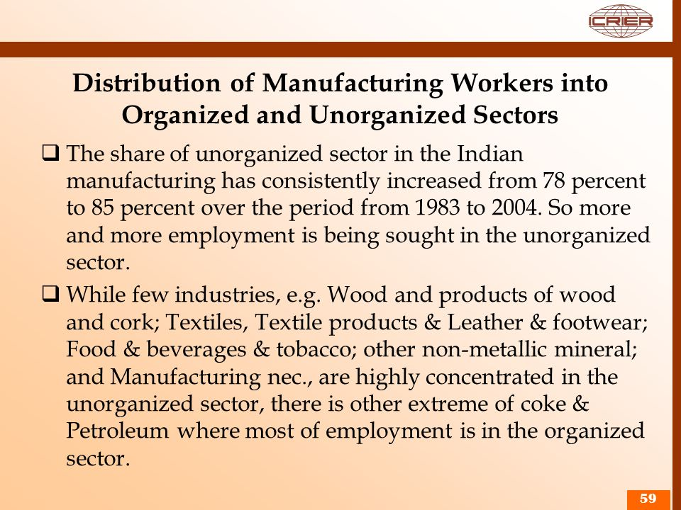 Distribution of Manufacturing Workers into Organized and Unorganized Sectors The share of unorganized sector in the Indian manufacturing has consisten