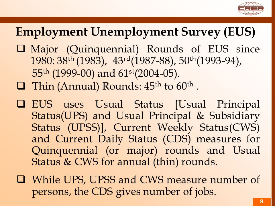 88 Employment Unemployment Survey (EUS) Major (Quinquennial) Rounds of EUS since 1980: 38 th (1983), 43 rd (1987-88), 50 th (1993-94), 55 th (1999-00)