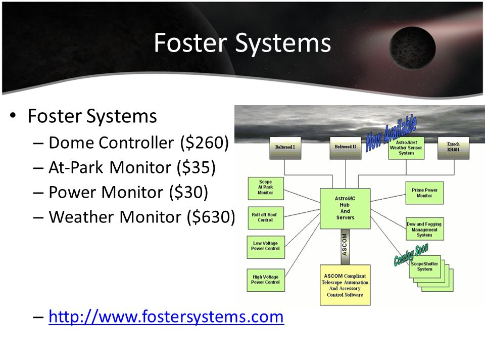 Foster Systems – Dome Controller ($260) – At-Park Monitor ($35) – Power Monitor ($30) – Weather Monitor ($630) – http://www.fostersystems.com http://w
