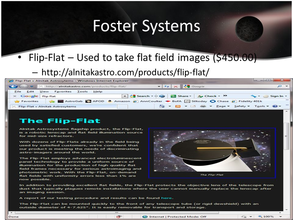 Foster Systems Flip-Flat – Used to take flat field images ($450.00) – http://alnitakastro.com/products/flip-flat/