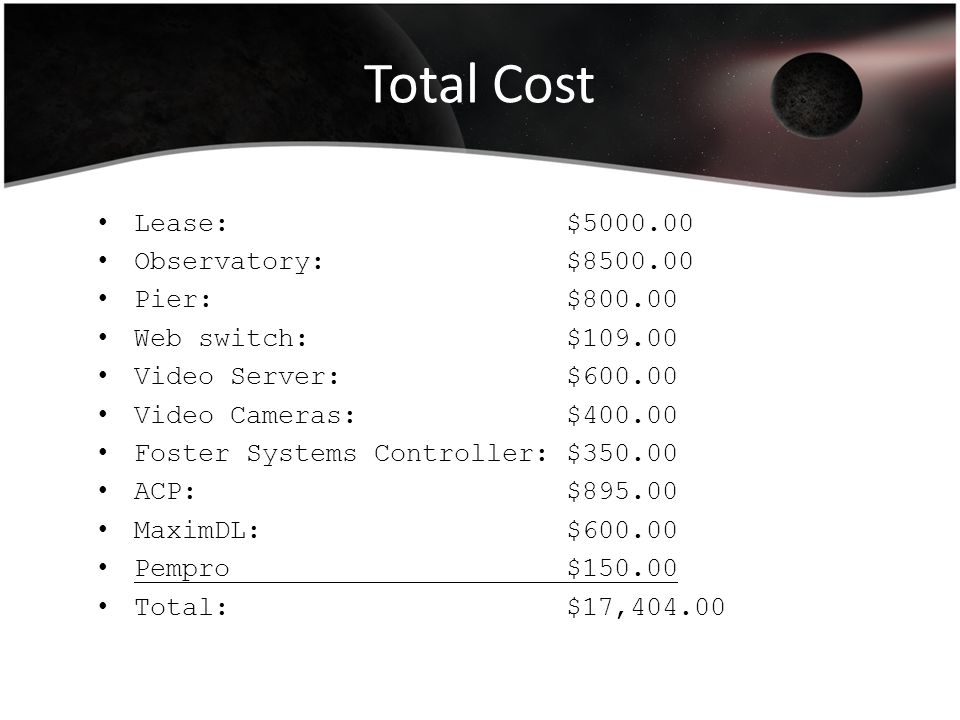 Total Cost Lease: $5000.00 Observatory: $8500.00 Pier: $800.00 Web switch: $109.00 Video Server: $600.00 Video Cameras: $400.00 Foster Systems Control