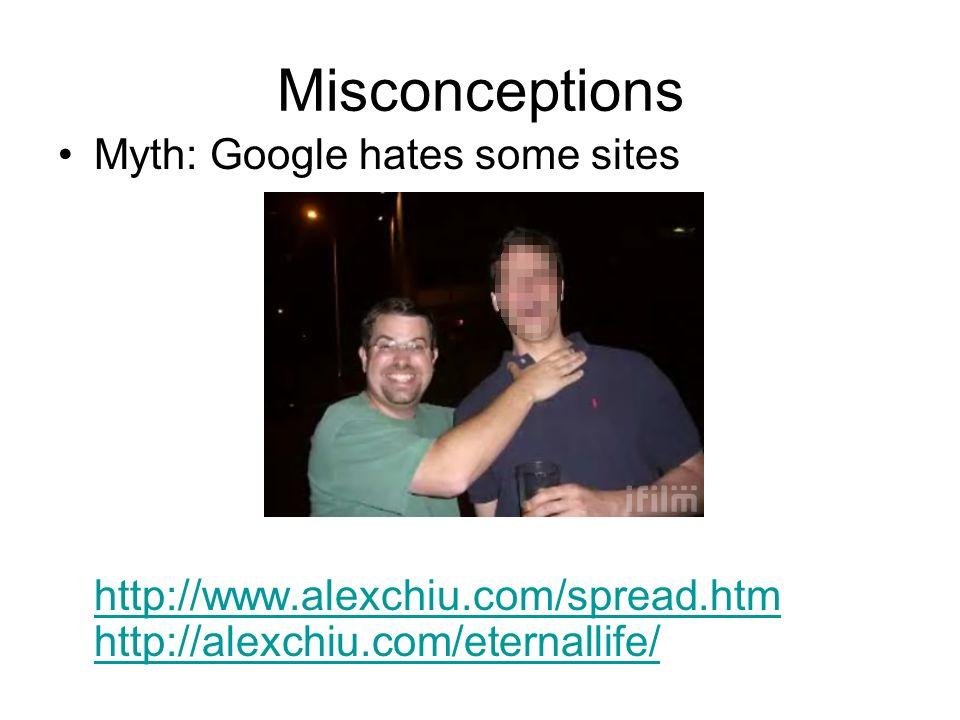 Misconceptions Myth: Google hates some sites http://www.alexchiu.com/spread.htm http://alexchiu.com/eternallife/