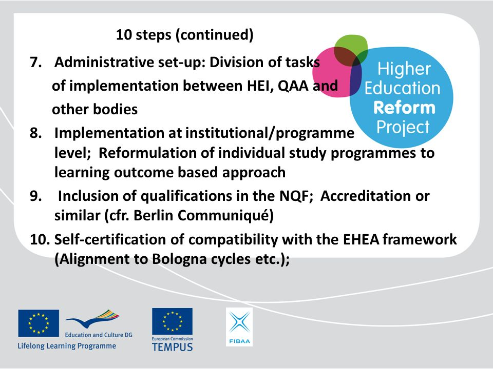 10 steps (continued) 7.Administrative set-up: Division of tasks of implementation between HEI, QAA and other bodies 8.Implementation at institutional/