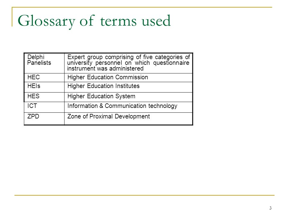 3 Glossary of terms used Delphi Panelists Expert group comprising of five categories of university personnel on which questionnaire instrument was adm