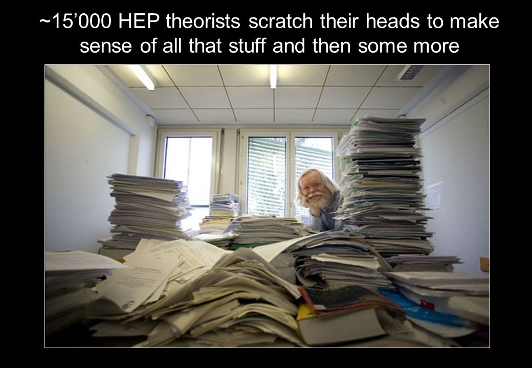~15000 HEP theorists scratch their heads to make sense of all that stuff and then some more
