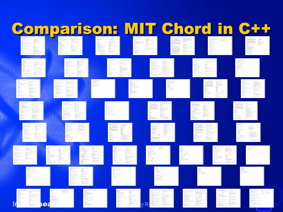 Timothy Roscoe Intel Research 31 Comparison: MIT Chord in C++