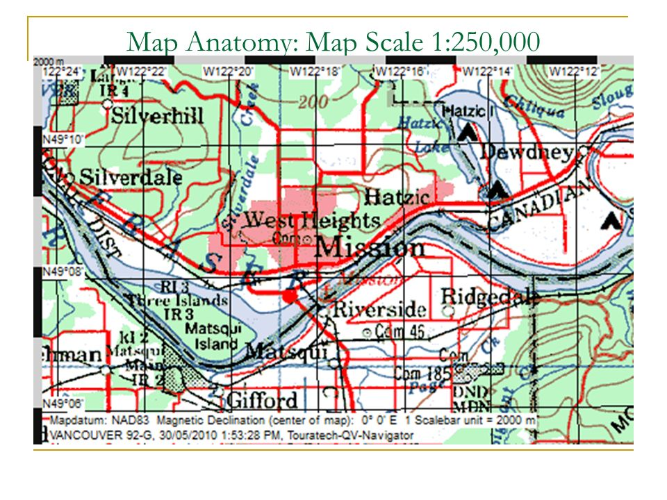 Map Anatomy: Map Scale 1:250,000 Smaller Scale