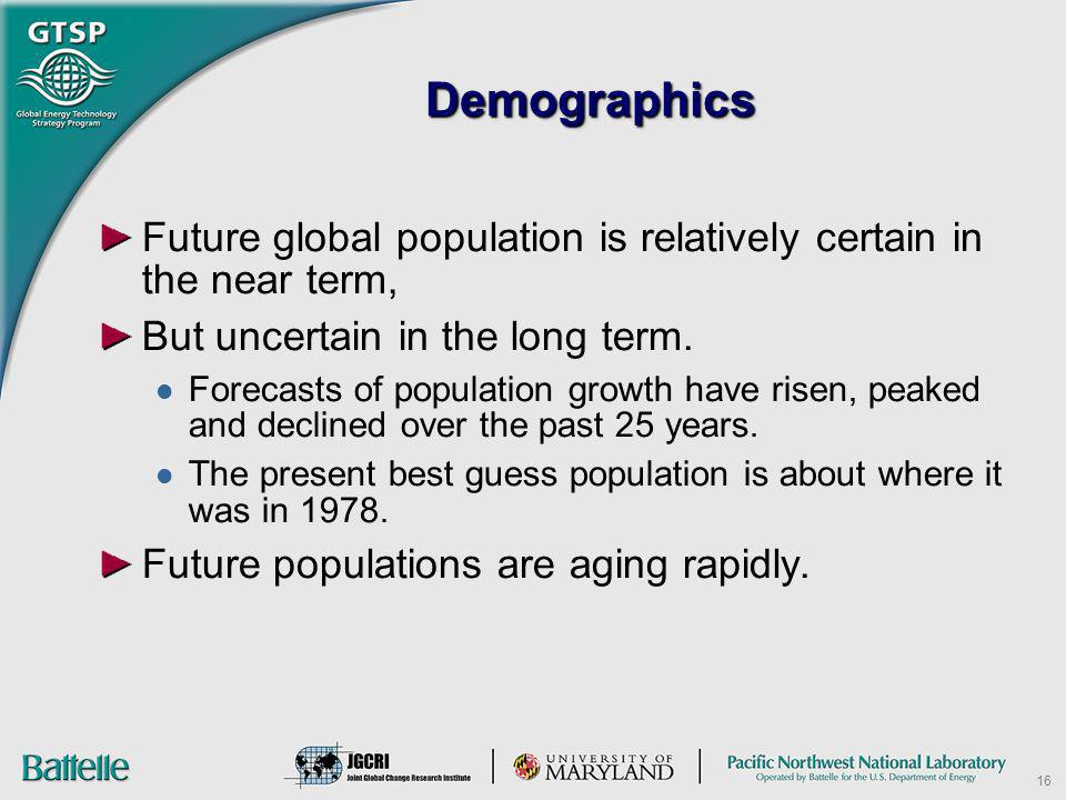 16 DemographicsDemographics Future global population is relatively certain in the near term, But uncertain in the long term. Forecasts of population g