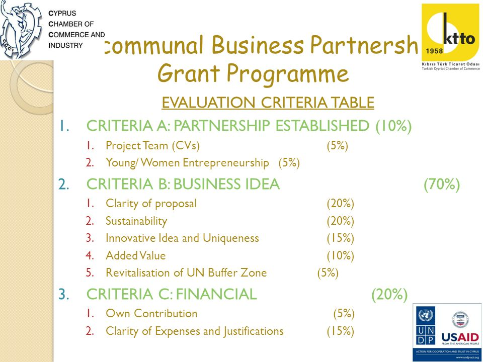 Bi-communal Business Partnership Grant Programme EVALUATION CRITERIA TABLE 1.CRITERIA A: PARTNERSHIP ESTABLISHED (10%) 1.Project Team (CVs) (5%) 2.You