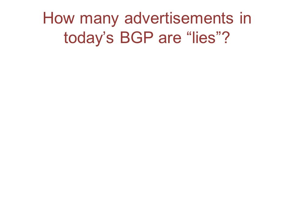 How many advertisements in todays BGP are lies?