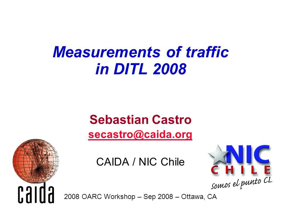Sebastian Castro secastro@caida.org CAIDA / NIC Chile 2008 OARC Workshop – Sep 2008 – Ottawa, CA Measurements of traffic in DITL 2008