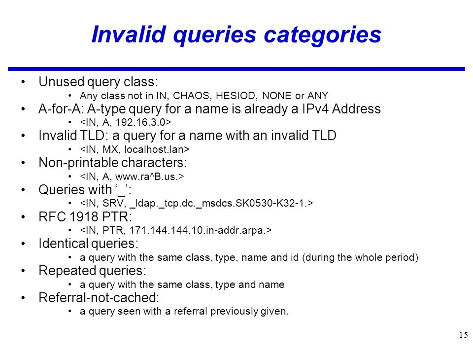 15 Invalid queries categories Unused query class: Any class not in IN, CHAOS, HESIOD, NONE or ANY A-for-A: A-type query for a name is already a IPv4 Address Invalid TLD: a query for a name with an invalid TLD Non-printable characters: Queries with _: RFC 1918 PTR: Identical queries: a query with the same class, type, name and id (during the whole period) Repeated queries: a query with the same class, type and name Referral-not-cached: a query seen with a referral previously given.