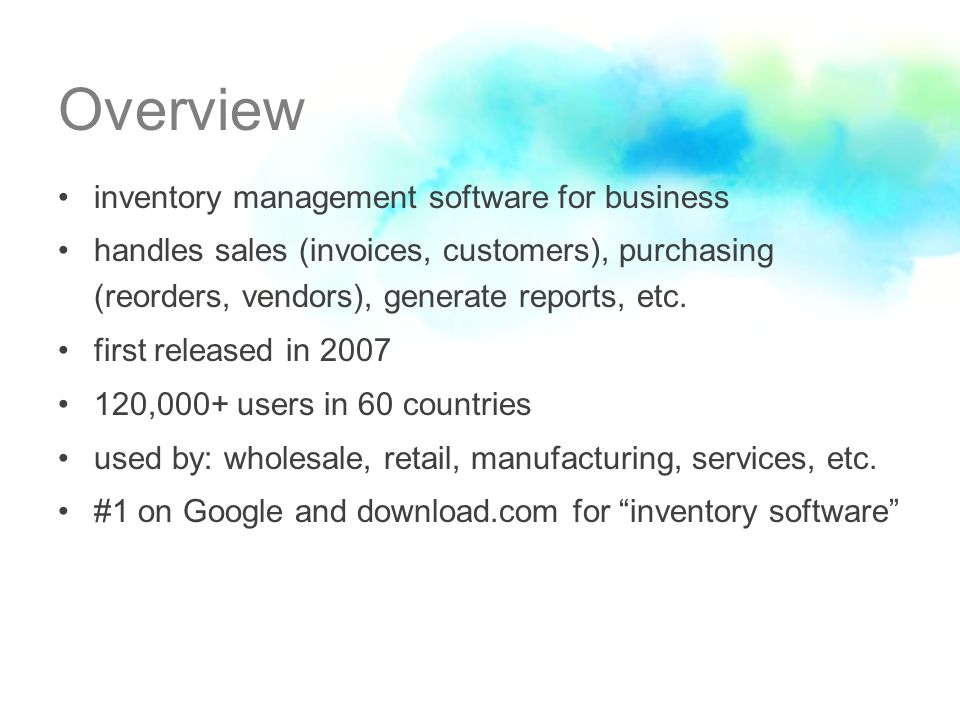 Overview inventory management software for business handles sales (invoices, customers), purchasing (reorders, vendors), generate reports, etc.