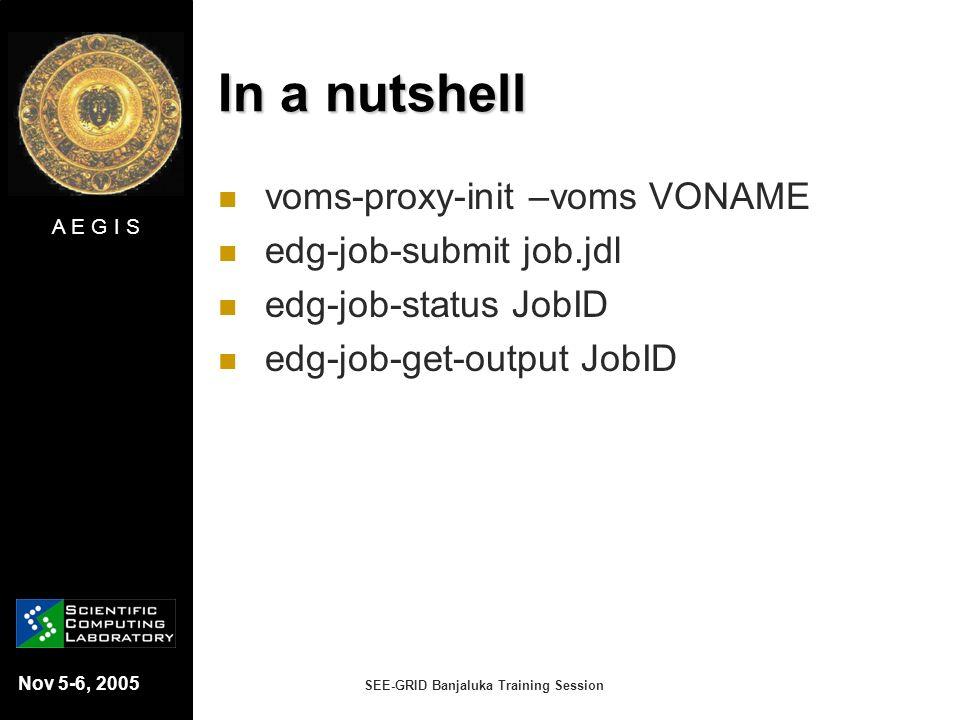 A E G I S Nov 5-6, 2005 SEE-GRID Banjaluka Training Session In a nutshell voms-proxy-init –voms VONAME edg-job-submit job.jdl edg-job-status JobID edg